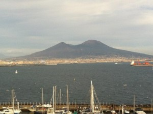 view of the coast and the Vesuvius Volcano