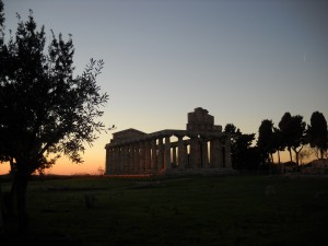 Sunset at Athena's Temple. Pic by Archaeological Park of Paestum