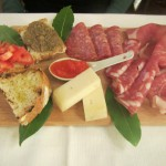 Cutting board of cured meats