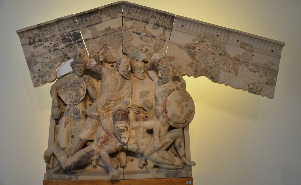 Terracotta Etruscan relief depicting scenes from the myth of the Seven Against Thebes