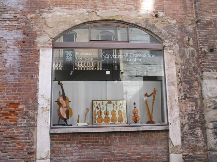 Window of a tourist office in Cremona