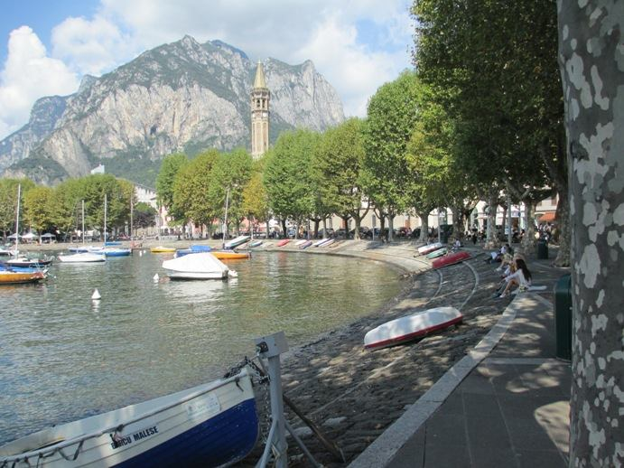 Lecco - Lungolago with a view of the bell tower of San Nicolò's church