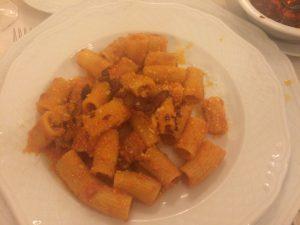 Secondo of fresh pasta and Parmiggiana, hotel Grande Villa Tuscolana (Frascati)