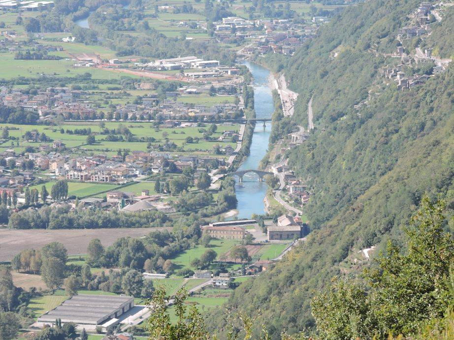 view of Morbegno and the River Adda from a walk.