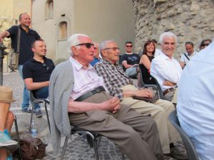 Giuseppe (far left) at the poetry event