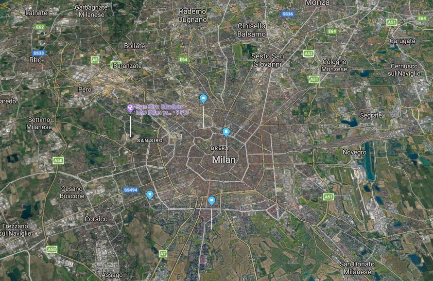 Milan Green map