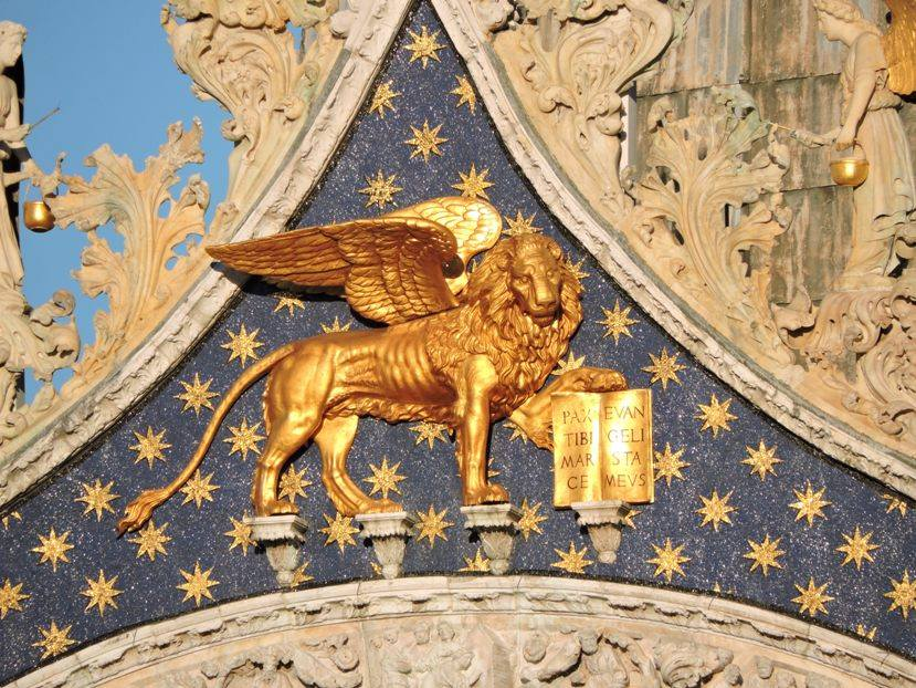 Venice The Lion Of St Mark Above The Duomo Italia Slow Tour