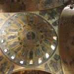 Venice - Basilica di San Marco - interior - a beautiful mosaic ceiling with Jesus in the center surrounded by angels and saints