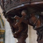 Duomo di Pavia - detail from the pulpit - carved wooden images of saints