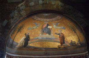 Basilica di San Pietro Cielo d'Oro - above the front altar - ceiling mosaic