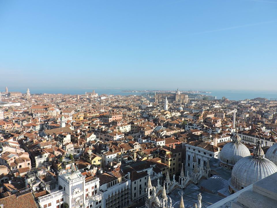 Venice - the domes of the basilica and Venice seen from the top of the bell tower