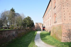 Pavia, Castello Visconteo - the old moat the surrounds the castle is now a walking path!