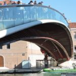 View of the Ponte della Constituzione from below showing the lovely lines and construction of the bridge