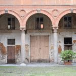 Pavia, door inside the courtyard of the 15th century Palazzo Orlandi