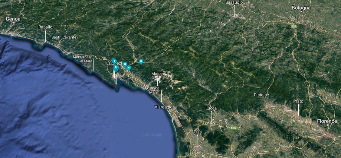 Gulf of La Spezia map