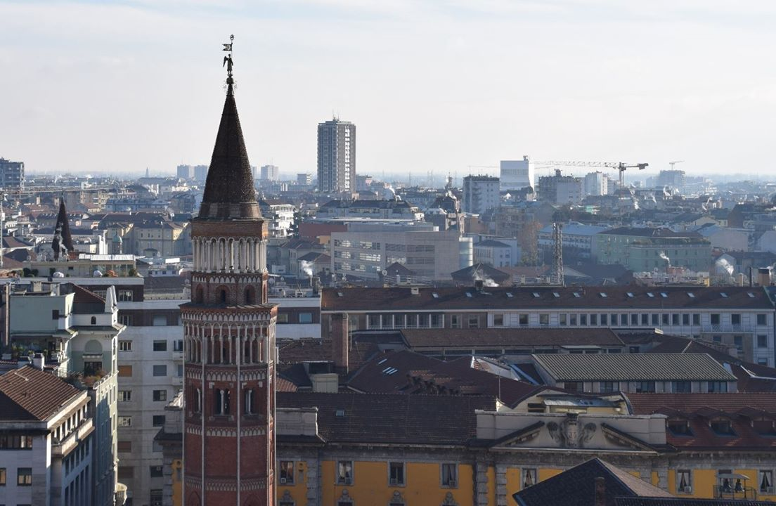 The steeple of the Chiesa di San Gottardo seen from the roof of the Duomo.