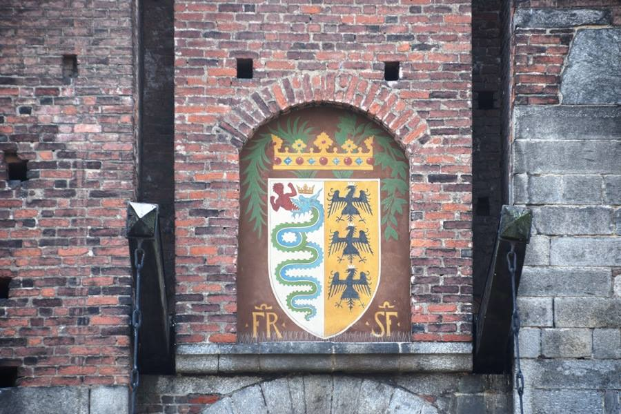 The Visconti-Sforza coat of arms as seen above the drawbridge of the Castello Sforzesco