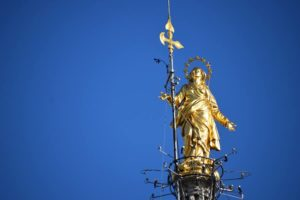 Madonnina atop the main spire of the Duomo. This was constructed and put here in 1774.