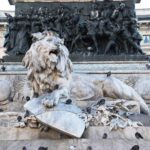 Monument to Vittorio Emanuele II - built in 1879 by Ercola Rosa - Lion covered with pigeons
