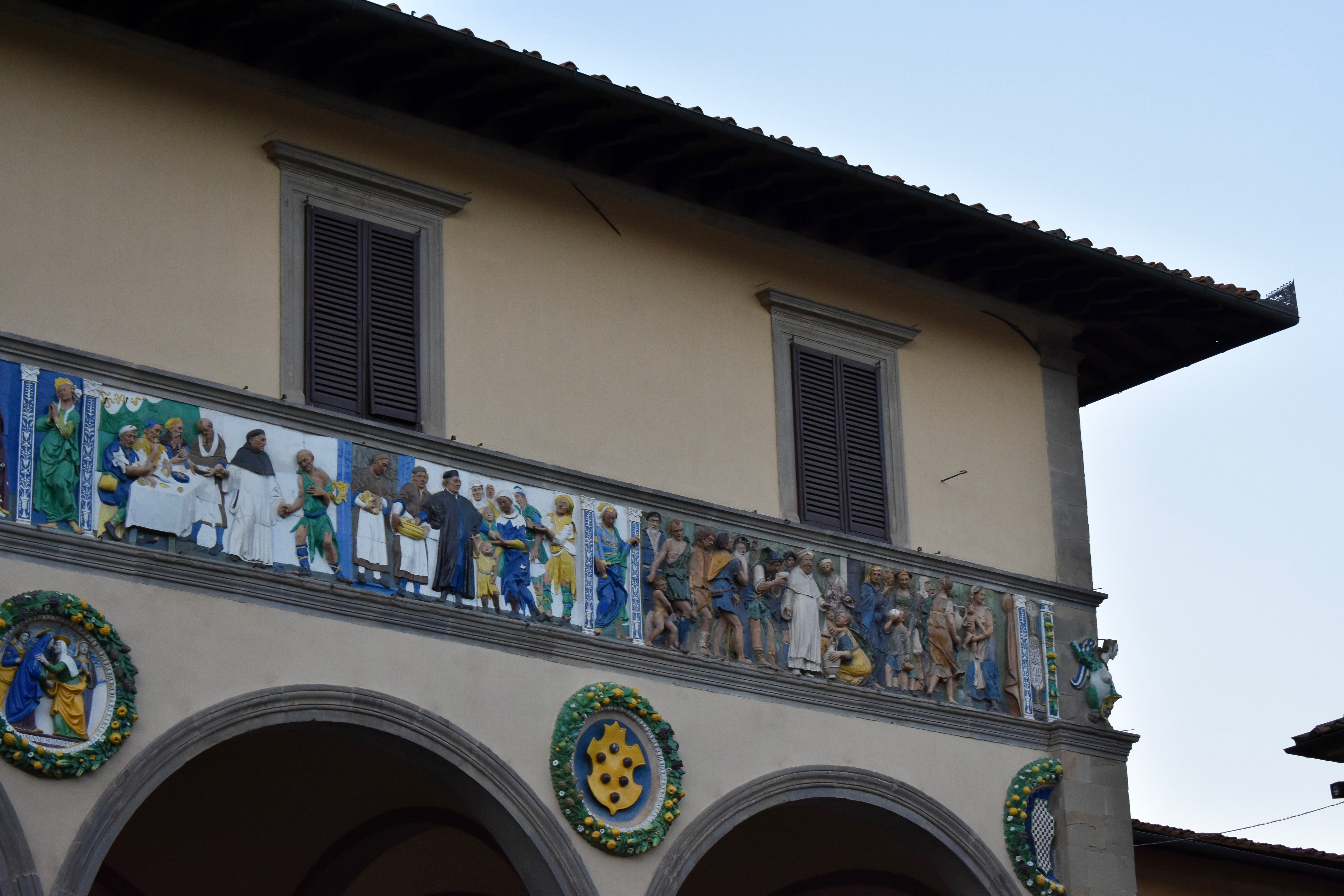Pistoia, a part of the frieze of Ceppo hospital