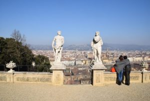 Bardini Gardens - Lovers enjoying the view of Florence from the veranda of the old Villa Bardini which is now a museum