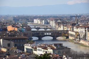 Piazzale Micheangelo - view of the Arno River and three bridges - Ponte Vecchio - Ponte Trinita - Ponte Alle Carraia