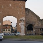 Porta Romana - 13th-century southernmost gate to Florence. Dietro-Front (1981-1984) sculpture by Michelangelo Pistoletto (1933 -)