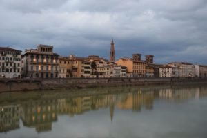 View of the Arno River at dusk