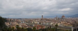 View of Florence from the courtyard of Chiesa di San Miniato al Monte