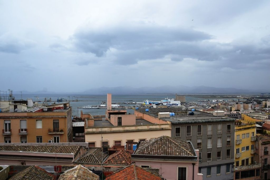 Cagliari - the capital of the island. This is the view of the port from the terrace of Umberto I – the apex of the Bastione Saint Remy - in the walled Castello district of the city.