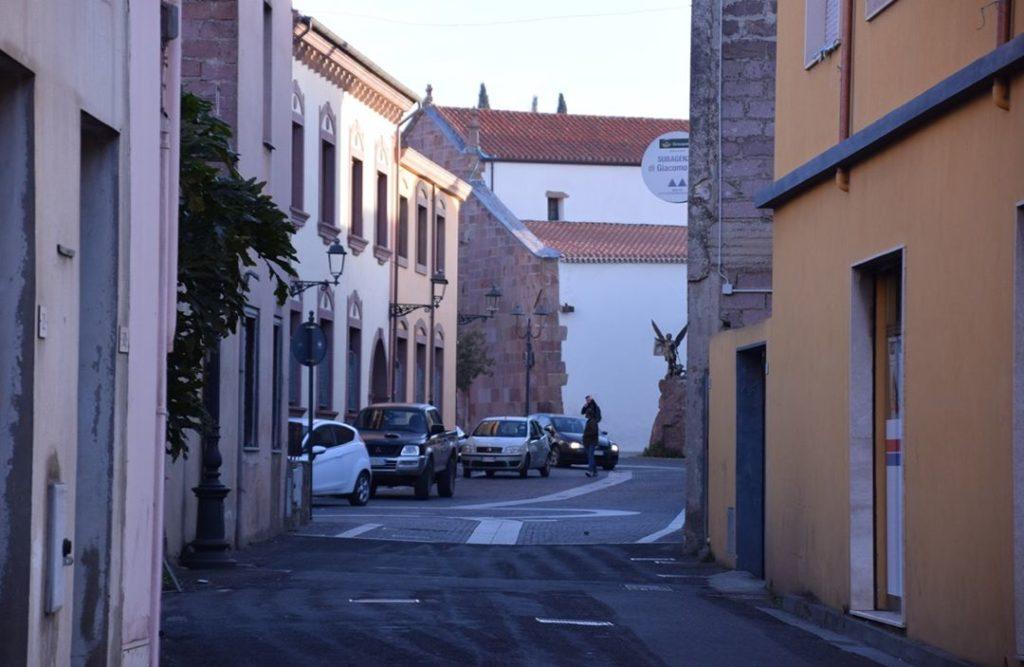 Samugheo, the main street through the small town, Via Umberto