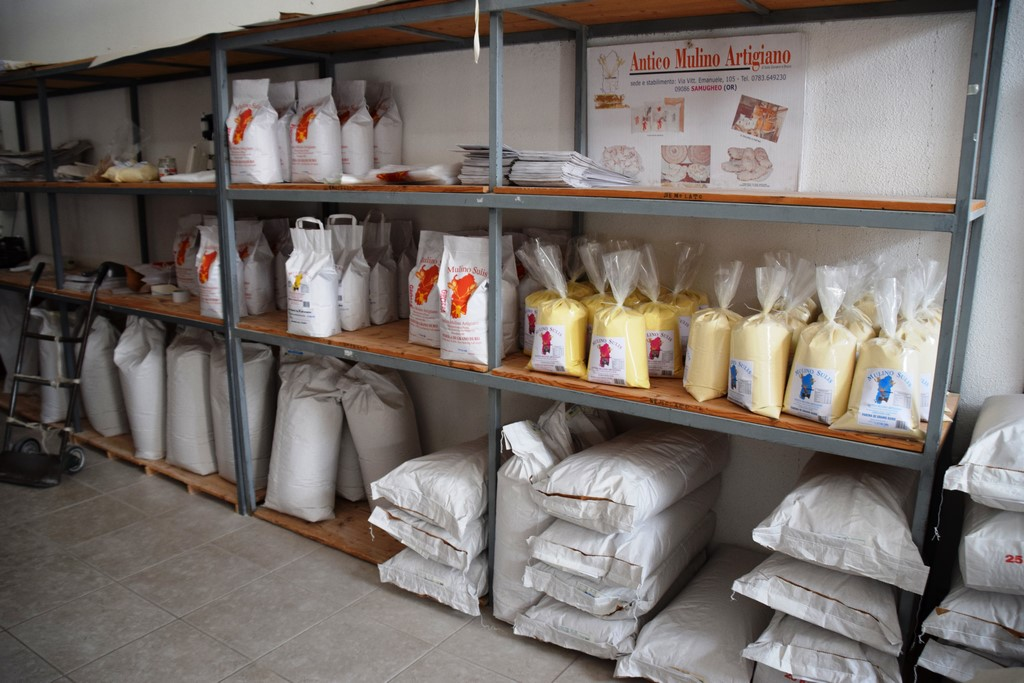 Samugheo - Mulino Sulis - the different flours in a variety of weights that Bruno Sulis carefully grinds at his Antico Mulino Artigiano