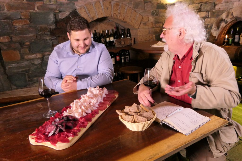 Tasting some salami from Aosta Valley